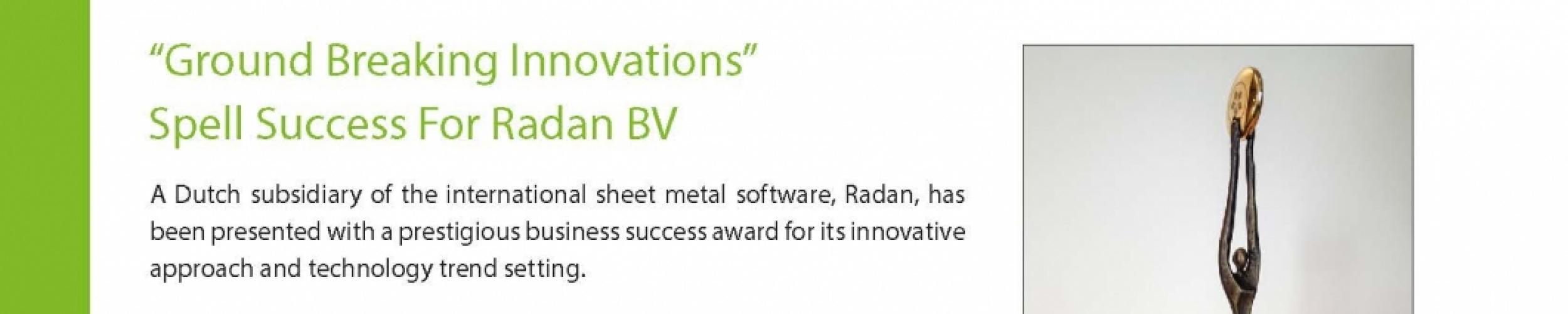 Radan BV wint NBSA award 2016